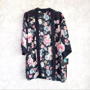 NWT Navy floral kimono cardigan size medium